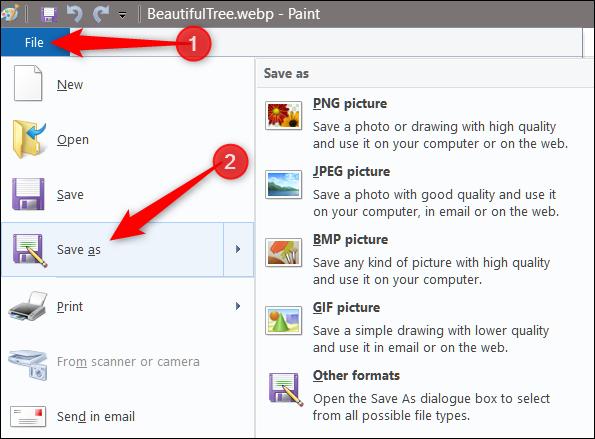 Para converter a imagem, clique em Arquivo> Salvar como e selecione o formato no qual deseja salvá-la
