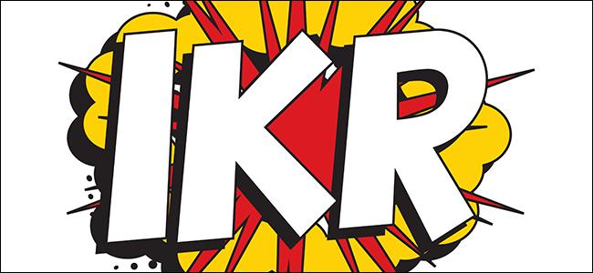 """""""IKR"""" em fonte branca sobre um gráfico de explosão."""