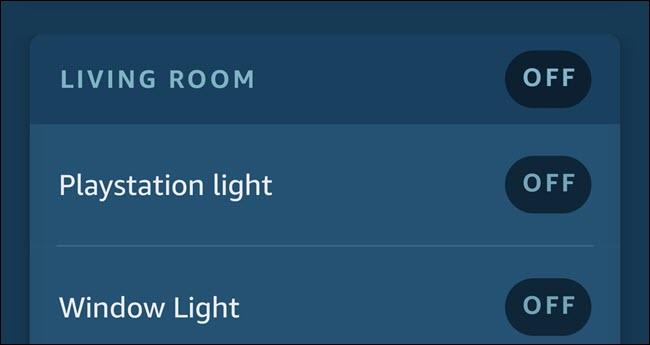 Aplicativo Alexa mostrando duas luzes chamadas Playstation Light e Window Light