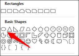Forma oval no grupo de formas básicas