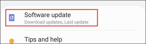 configurações de atualização de software samsung