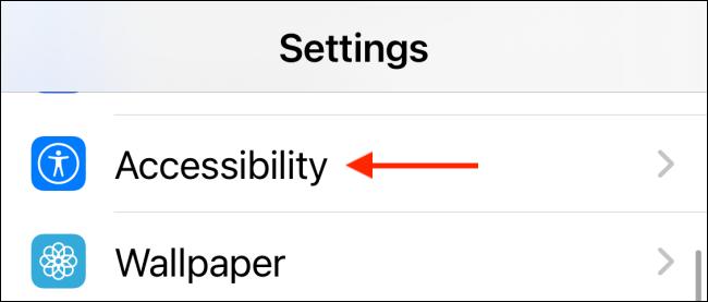 Selecione Acessibilidade em Configurações