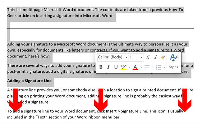 Para selecionar manualmente o conteúdo de uma página do Microsoft Word, coloque o cursor do documento no início da página e arraste para baixo