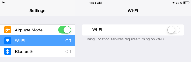configurações do modo avião no iPhone