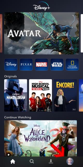 Disney + tela principal do app