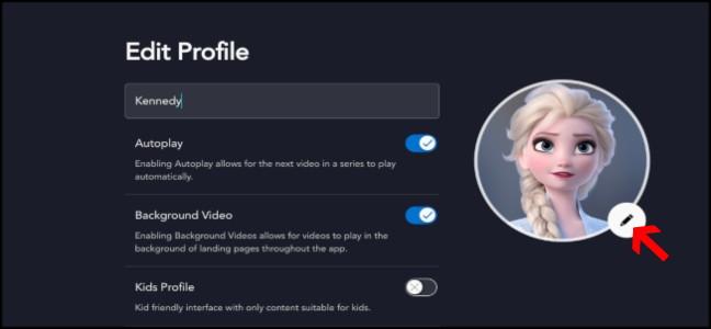 Configurações de perfil Disney +