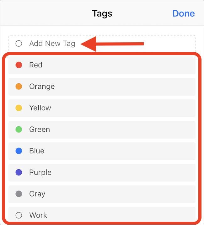 Toque em uma tag para selecioná-la
