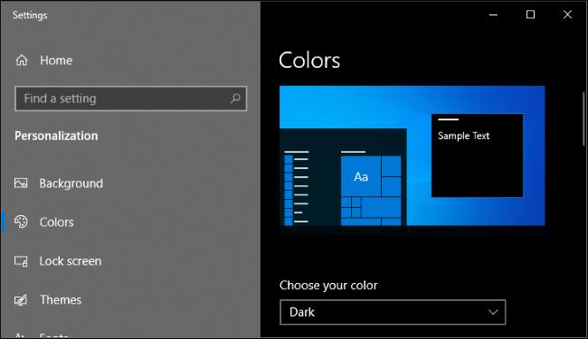 Ativando o modo escuro no aplicativo Configurações do Windows 10