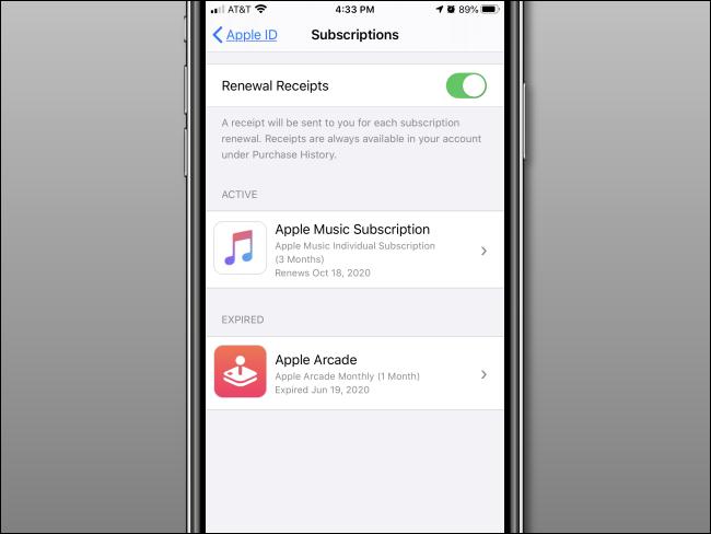 """O menu """"Assinaturas"""" em um iPhone."""