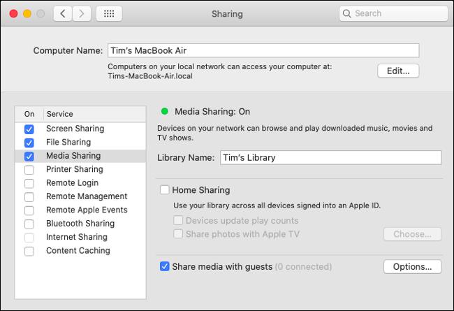 Configure o compartilhamento de mídia no macOS Catalina