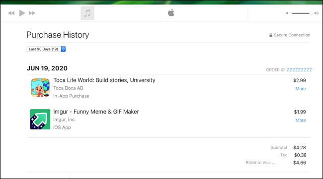 """Um """"histórico de compras"""" no Apple Music."""