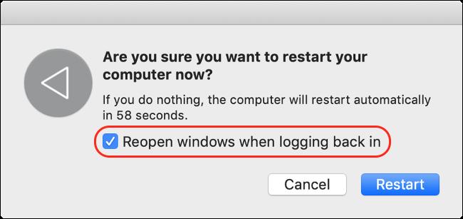 Desativar reabrir o Windows ao fazer login para um tempo de inicialização mais rápido