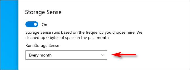 Selecione Storage Sense Run Interval nas configurações do Windows 10