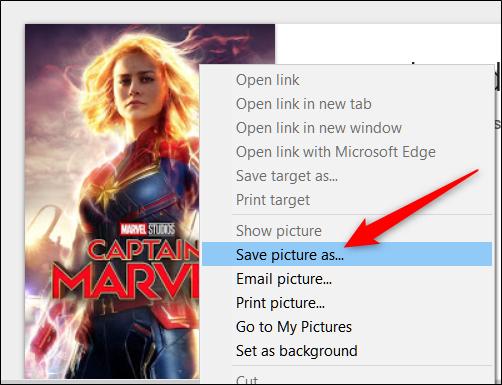 Clique com o botão direito na imagem e clique em Salvar imagem como