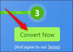 Clique em Converter agora para iniciar a conversão