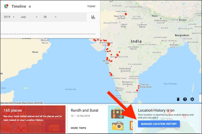 Clique no botão Gerenciar Histórico de Localização na página Linha do tempo do Google Maps