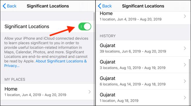 Clique no botão Significant Locations para desativá-lo