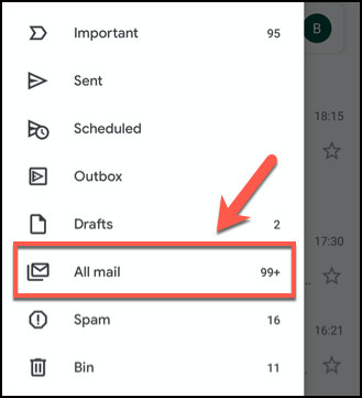 Clique no menu de hambúrguer e pressione a guia Todos os e-mails no aplicativo Gmail