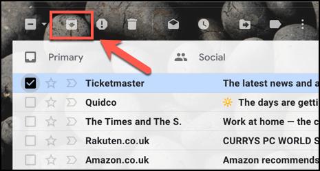 Pressione o botão Arquivar para arquivar um e-mail no Gmail