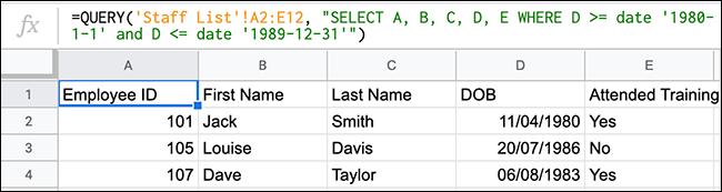 A função QUERY no Planilhas Google mostrando uma função QUERY usando operadores de comparação para procurar valores entre duas datas.