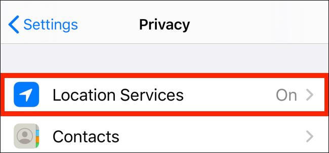 Toque em Serviços de localização no aplicativo Privacidade