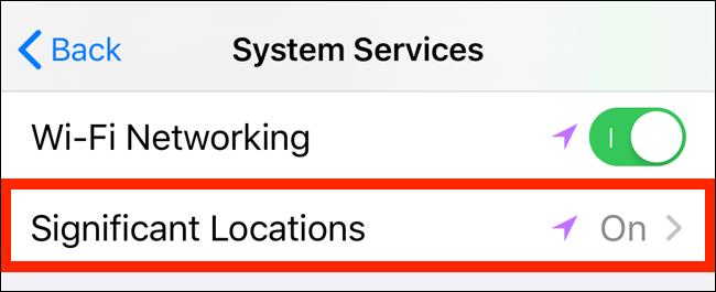 Toque em Localização Significativa para ver os detalhes de rastreamento de localização