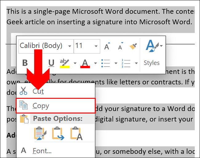 Para copiar em um documento do Word, selecione seu conteúdo e pressione Ctrl + C ou clique com o botão direito e clique em Copiar
