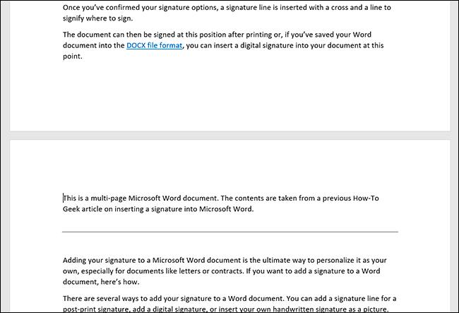Um documento do Microsoft Word mostrando páginas duplicadas