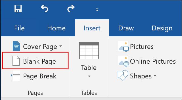 Clique em Inserir> Página em Branco no Microsoft Word para inserir uma nova página em branco em seu documento