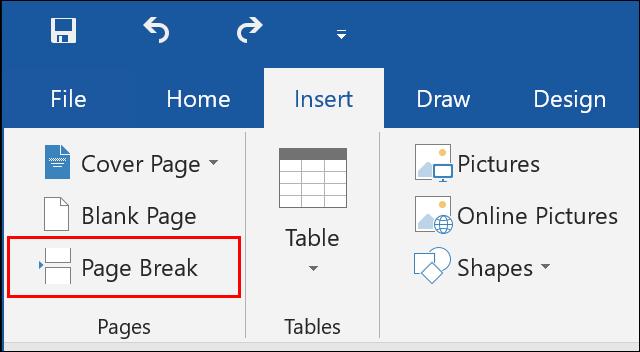 Clique em Inserir> Quebra de página no Microsoft Word para inserir uma nova quebra de página em seu documento