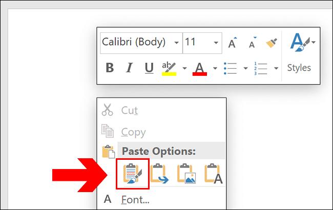 Para colar no Word, pressione Ctrl + V ou clique com o botão direito na sua página, clicando em uma das opções de colagem.