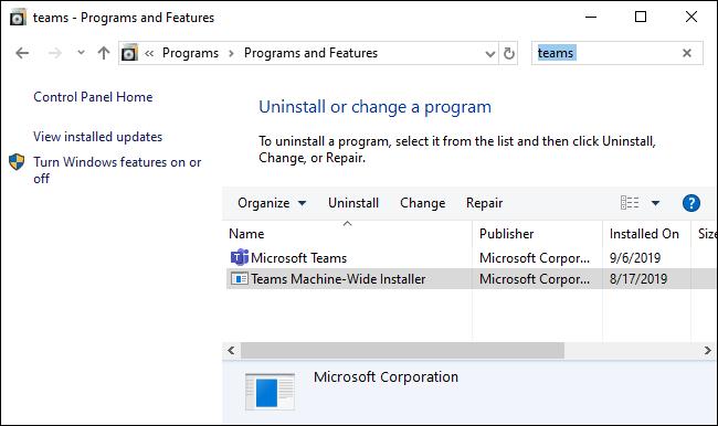 Removendo o Microsoft Teams por meio do Painel de Controle.
