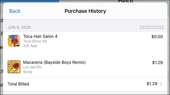 """Um """"Histórico de compras"""" em um iPad."""