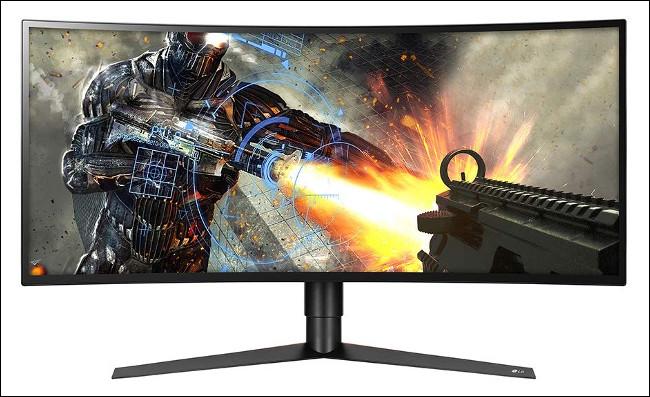 Um jogo sendo jogado em um monitor LG 34GK950F-B com um painel IPS.
