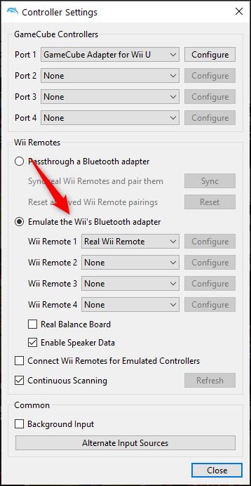 """Selecione """"Emular o adaptador Bluetooth do Wii"""" e selecione o Wii Remote"""