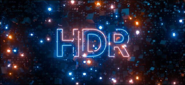 Um logotipo HDR em luzes de néon.
