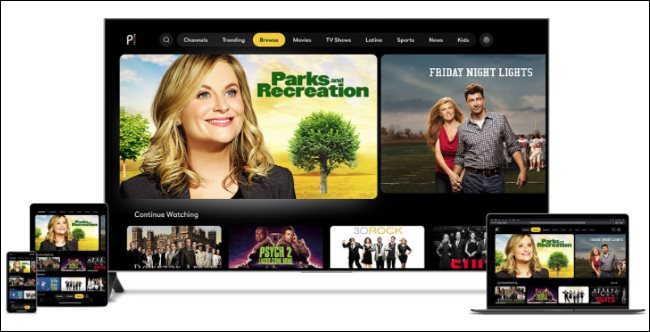Programas de TV do Peacock em vários dispositivos