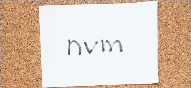 """""""nvm"""" escrito à mão em um pedaço de papel."""