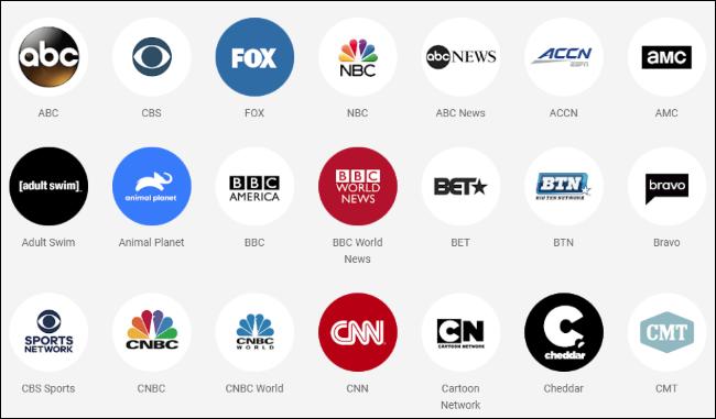 Logotipos de redes de TV disponíveis no YouTube TV