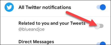 desligue o canal de notificação