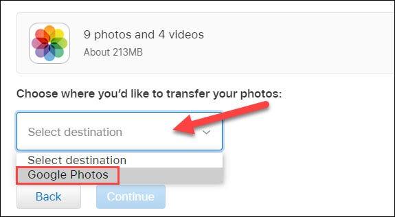 selecione fotos do google no menu suspenso