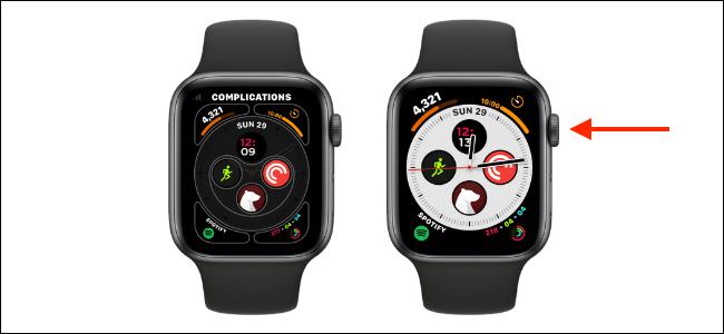 Clique na coroa digital para salvar o mostrador do relógio