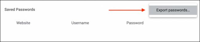 Clique em Exportar senhas