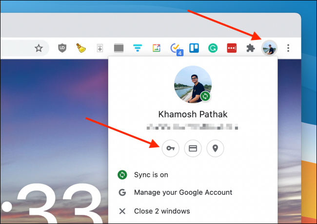 Clique em Senhas do perfil do Chrome