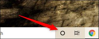 Clique no ícone Cortana.