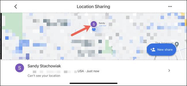 Toque em um contato para vê-lo no mapa
