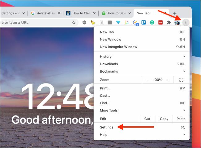 Vá para Configurações do Chrome