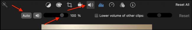 Aumente o volume no iMovie