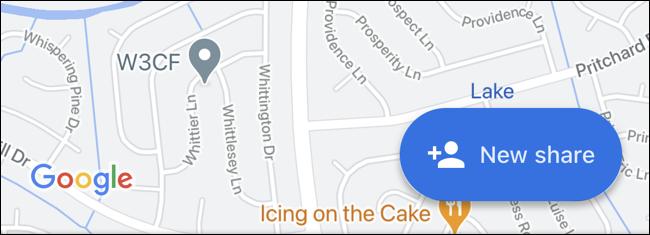 Toque em Novo Compartilhar no Google Maps
