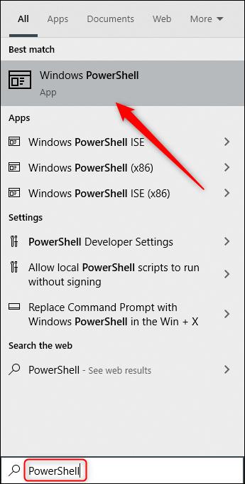 """Digite """"PowerShell"""" na caixa de pesquisa do Windows e selecione """"Windows PowerShell"""" nos resultados."""